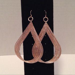"Thalia Sodi Rose Gold Twisted Earrings 3 1/2"""